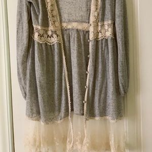 Grey knit and lace sweater